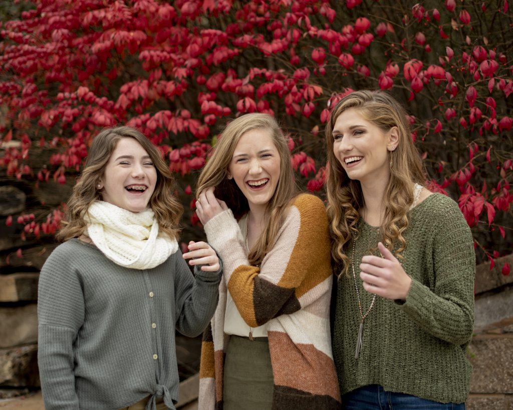 Girls laughing during photoshoot